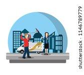 journalist van and cameraman... | Shutterstock .eps vector #1146789779