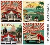 Set Of Cuba Retro Poster.