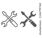 screwdriver and wrench line and ... | Shutterstock .eps vector #1146799760