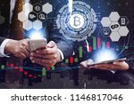bitcoin and cryptocurrency...   Shutterstock . vector #1146817046