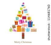 christmas tree and gifts | Shutterstock .eps vector #114681760