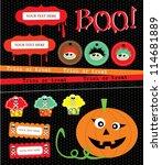 happy halloween scrapbook... | Shutterstock .eps vector #114681889