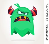 angry cartoon green monster... | Shutterstock .eps vector #1146820793