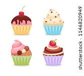 set cupcakes on a white... | Shutterstock .eps vector #1146820949