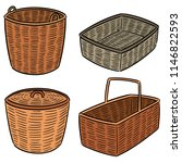 vector set of wicker basket | Shutterstock .eps vector #1146822593