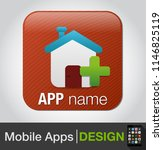 home vector icon on button with ... | Shutterstock .eps vector #1146825119