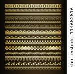 set  of golden seamless lines... | Shutterstock .eps vector #114682816