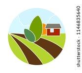 vector farm field  farm... | Shutterstock .eps vector #1146835640