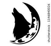 howling wolf and moon crescent... | Shutterstock .eps vector #1146840026