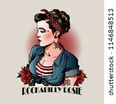 pin up rockabilly lady | Shutterstock .eps vector #1146848513