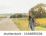 beautiful girl with  backpack... | Shutterstock . vector #1146850106