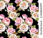 bright roses pattern watercolor | Shutterstock . vector #1146860399