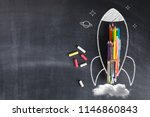 back to school   rocket sketch... | Shutterstock . vector #1146860843