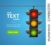 cartoon traffic light banner... | Shutterstock .eps vector #1146862550