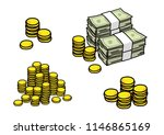 money notes with coins  pile of ... | Shutterstock .eps vector #1146865169