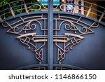wrought iron gates  ornamental... | Shutterstock . vector #1146866150