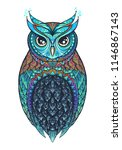 owl with tribal ornament. hand... | Shutterstock .eps vector #1146867143