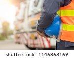 truck driver safety hat holder... | Shutterstock . vector #1146868169