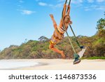 happy girl have fun swinging... | Shutterstock . vector #1146873536
