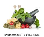 Italian food: pasta, tomatoes, fresh herbs in mortar. Isolated on white background - stock photo