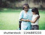 grandmother and granddaughter... | Shutterstock . vector #1146885233
