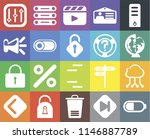 set of 20 icons such as battery ...