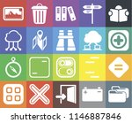 set of 20 icons such as folder  ...