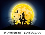 halloween night background with ... | Shutterstock .eps vector #1146901709