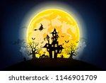 halloween night background with ... | Shutterstock .eps vector #1146901709