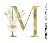 floral alphabet and gold serif... | Shutterstock .eps vector #1146917213