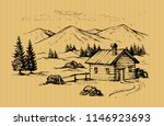 wood cabin in mountains... | Shutterstock .eps vector #1146923693