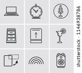 set of 9 simple editable icons...   Shutterstock .eps vector #1146938786