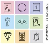 set of 9 simple editable icons...   Shutterstock .eps vector #1146938873