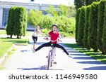 the first girl went riding a... | Shutterstock . vector #1146949580