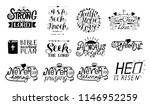 set of 12 hand lettering...
