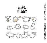big set with funny pigs  new... | Shutterstock .eps vector #1146953543