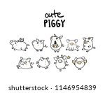 set with cute funny pigs  new... | Shutterstock .eps vector #1146954839