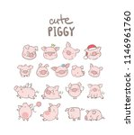 big set with funny pigs  new... | Shutterstock .eps vector #1146961760