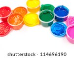 motley paints on the white background. paints arranged as rainbow. studio shot - stock photo