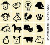 farm animals icons | Shutterstock .eps vector #114697300