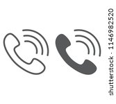 call line and glyph icon  phone ... | Shutterstock .eps vector #1146982520
