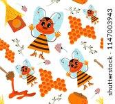 sympathetic bee  honey ...   Shutterstock .eps vector #1147003943