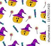 vector halloween seamless... | Shutterstock .eps vector #1147011410