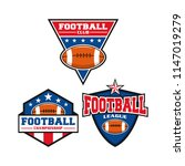 american football logo set with ... | Shutterstock .eps vector #1147019279