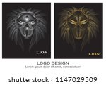 lion heads with silver and... | Shutterstock .eps vector #1147029509