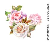 watercolor flowers.roses and... | Shutterstock . vector #1147032026