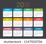 colorful year 2019 calendar... | Shutterstock .eps vector #1147033706