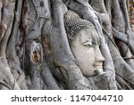Ancient Buddha Head Statue In...