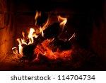 A Fire Burning In An Open Fire...