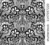 lace black seamless pattern... | Shutterstock .eps vector #1147057220